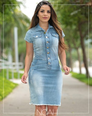 Vestido tubinho jeans claro | Moda Evangelica e Executiva