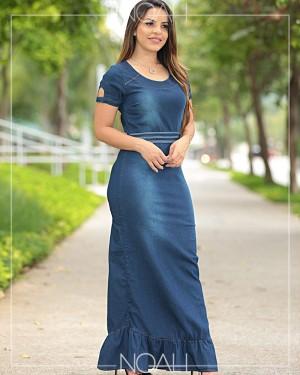 Vestido sino longo jeans | Moda Evangelica e Executiva