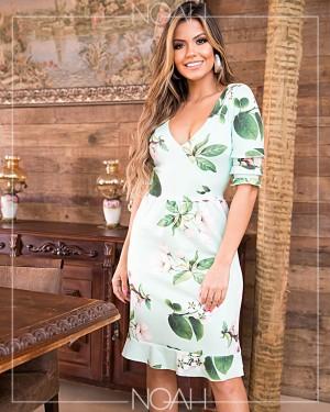 Vestido sino manga ¾ floral  | Moda Evangelica e Executiva