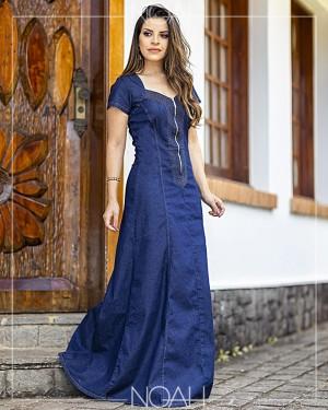 Vestido longo jeans escuro | Moda Evangelica e Executiva
