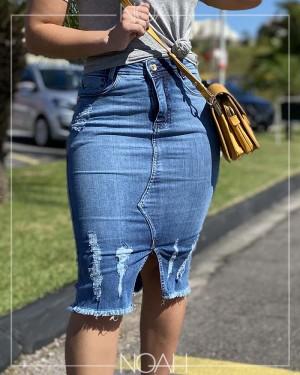Saia lápis jeans | Moda Evangelica e Executiva