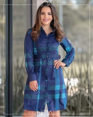 Vestido chemise manga longa xadrez azul | Moda Evangelica e Executiva