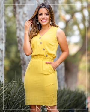 Vestido tubinho regata amarelo | Moda Evangelica e Executiva