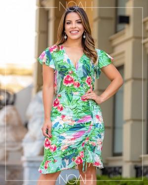 Vestido sino estampa floral | Moda Evangelica e Executiva