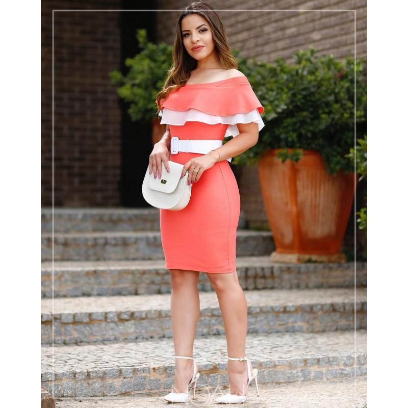 ab14527998 Alessandra - Vestido tubinho coral