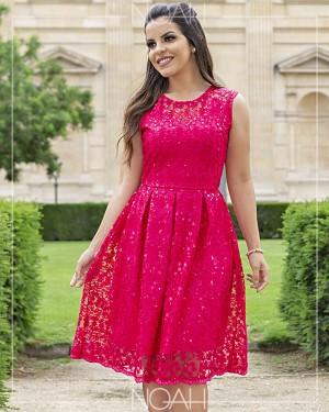 Vestido evasê renda paetê pink | Moda Evangelica e Executiva