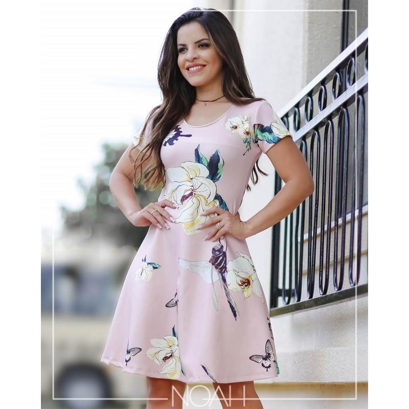 21a535bda Ingrid - Vestido godê rosa floral