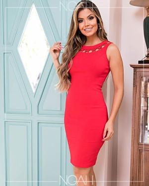 Vestido tubinho regata vermelho | Moda Evangelica e Executiva