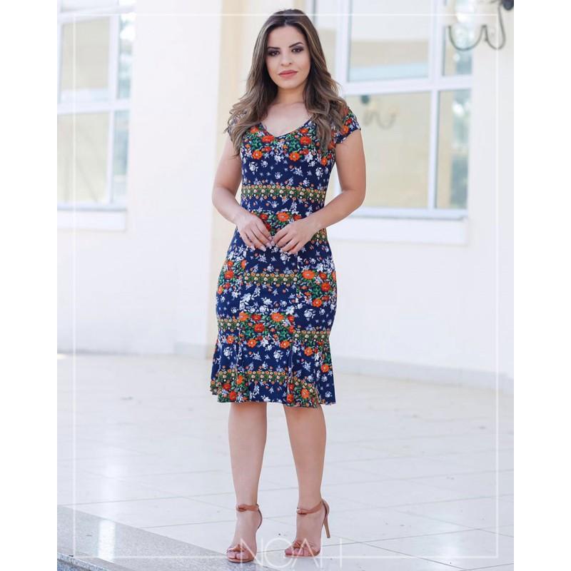 Rebeca Vestido Manga Curta Azul Florido Moda Evangelica